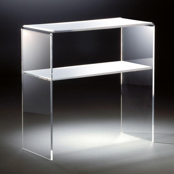 Hochwertiges Acryl-Glas Standregal, Konsole mit 2 Fächern, 70 x 30 cm, H 70 cm, Acryl-Glas-Stärke 12 mm