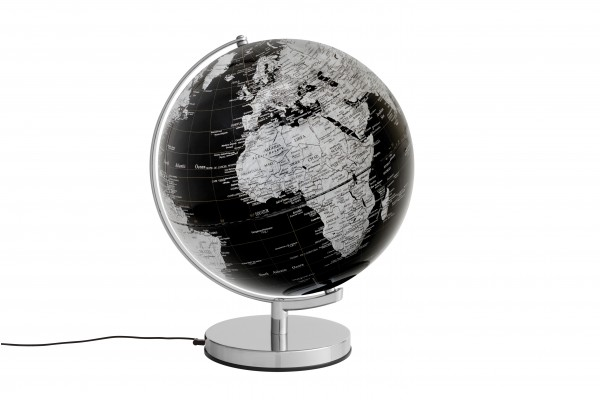 Moderner Leuchtglobus / Weltkugel, aus Metall, verchromt und Kunststoff, Ø30 cm x H38 cm
