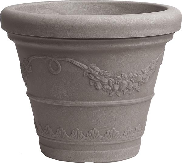 Blumentopf / Pflanztopf Festonato, mit doppeltem Rand, für Innen und Außen, aus hochwertigem Polyethylen