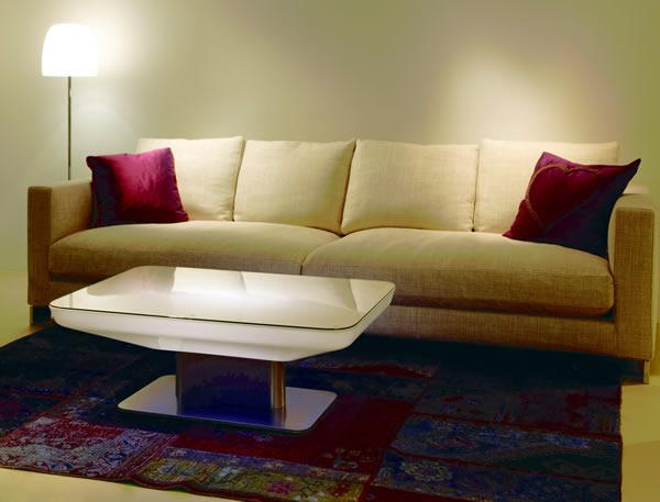 Moree Lounge Tisch Studio Indoor, beleuchtet, B 70 cm, L 100 cm, H 36 cm, mit Glasplatte, ABS glänzend, weiß transzulent, Edelstahl gebürstet, mit S14d Leuchtmittel, für Innen