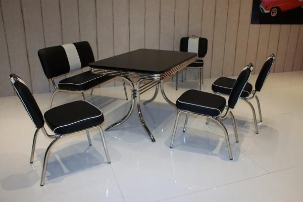 """Bankgruppe """"Houston"""", American Diner Style; Vierfuß Bistrotisch, 4 Bistrostühle und 1 Bistrobank; Bezug: schwarz/weiß; Tischplatte schwarz"""