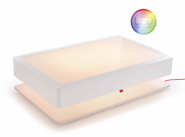 Moree Ora Home Couchtisch LED beleuchtet, mit Stauraum, Holzkorpus weiß, seidenmatt lackiert, L 110 cm, W 70 cm, H 29 cm, mit Glasplatte, inkl. Fernbedienung, Akku und Ladegerät, mit vielfarben LED (max 23 W), für Innen