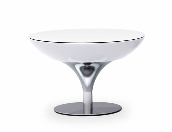 Moree Lounge Tisch / Beistelltisch, inkl. Glasplatte, Pro, LED beleuchtet, Ø 84 cm, H 55 cm, ABS glänzend, weiß transluzent, Aluminium gebürstet, eloxiert, mit E27 (230 V) Vielfarben LED, mit Fernbedienung, für Außen