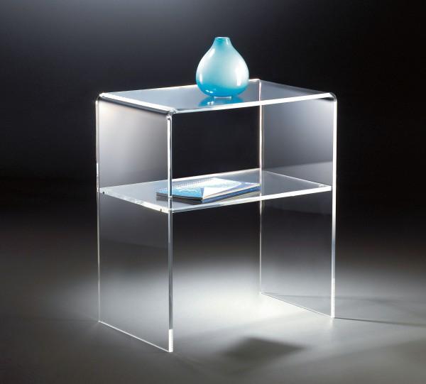 Hochwertiger Acryl-Glas Beistelltisch / Endtisch, klar, 50 x 38 cm, H 60 cm, Acryl-Glas-Stärke 10 mm