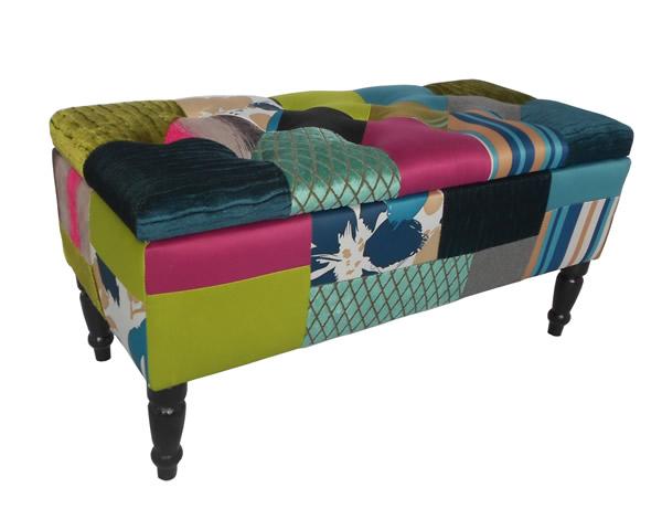 "Bank / Sitzbank ""Roomy"", Motiv Patchwork, Holzrahmen gepolstert, Bezug 100% Polyester, mit Stauraum, B80 x H40 x T40 cm"