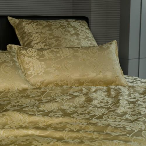 """Sichou Seiden-Bettwäsche """"Satin Jacquard Gold"""", Luxus pur, prunkvoller Bettbezug aus schwerem Seidengewebe, meisterhaft gewebt und verarbeitet bietet dieser goldene Bezug imperialen Genuss im Schlaf, Verschluss ist hochwertig mit echten Perlmuttknöp"""