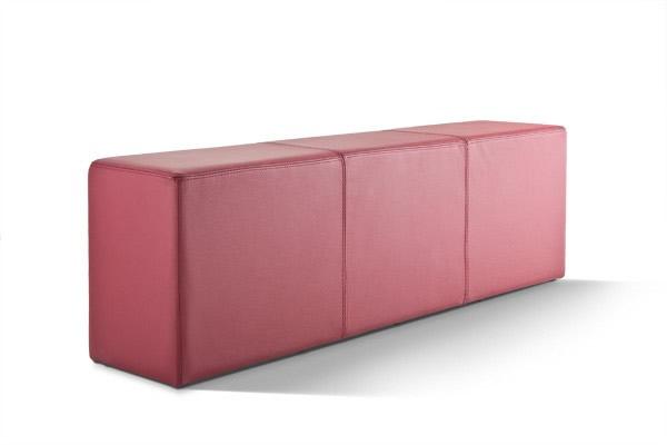 Pomp Bank, echtes Leder, bordeaux, B = 150 cm, T = 33 cm, H = 47,5 cm, Sitzbank in Stuhlhöhe mit komfortabler Polsterung