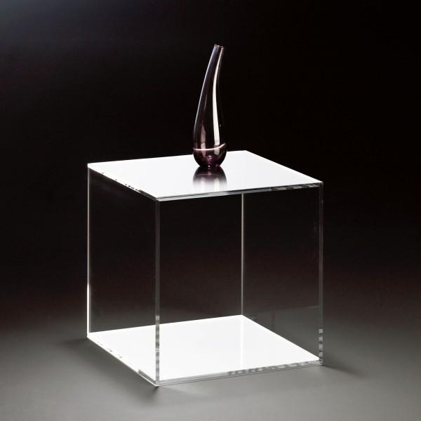 Hochwertiger Acryl-Glas Würfel, klar / weiß, 35 x 35 cm, H 35 cm, Acryl-Glas-Stärke 8 mm