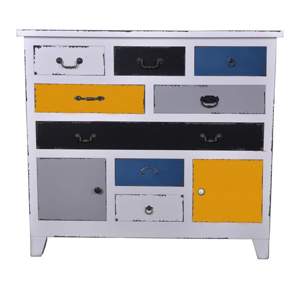 """Holzkommode """"Hip"""", Fronten bunt lackiert, matt, Vintage-/Used-Look, 8 Schubladen und 2 Türen, B120 x H108 x T37 cm"""