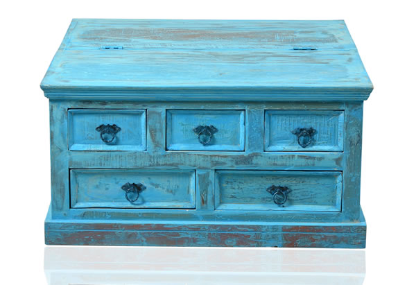 """Couchtischtruhe / Beistelltisch, """"Washed Look"""", Altholz, blau, B90 x T90 x H47 cm"""