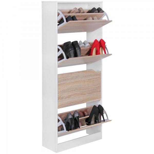 Moderner Schuhkipper / Schuhschrank, weiß / Sonoma Eiche, 4 Fächer, für ca. 24 Paar