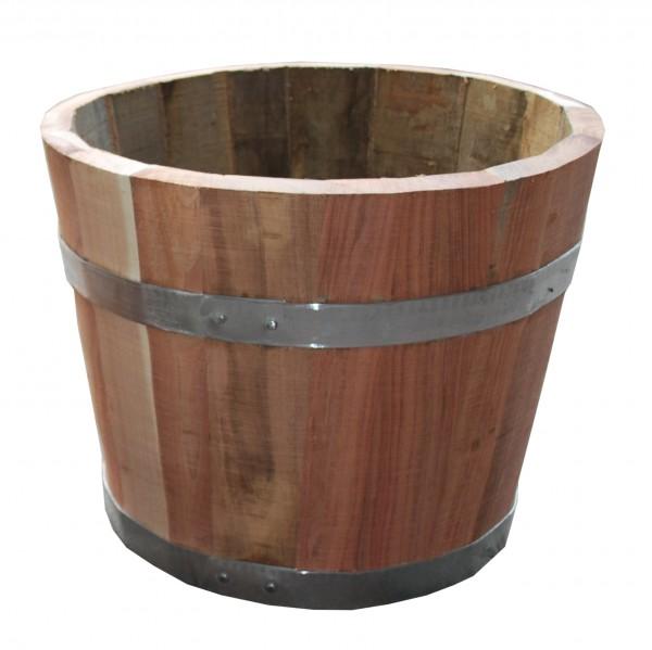Flacher Pflanzkübel aus tasmanischer Eiche, mit fixierten Metallringen, ideal als Kräuterbeet